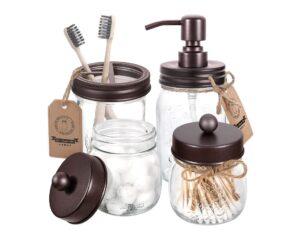 9. Mason Jar Bathroom Accessories