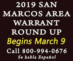 2019 San Marcos Warrant Round Up Begins March 9