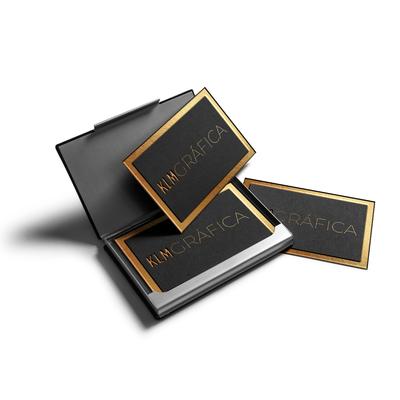 Cartões de Visita em Papel Especial - Metalizado Ouro/Prata