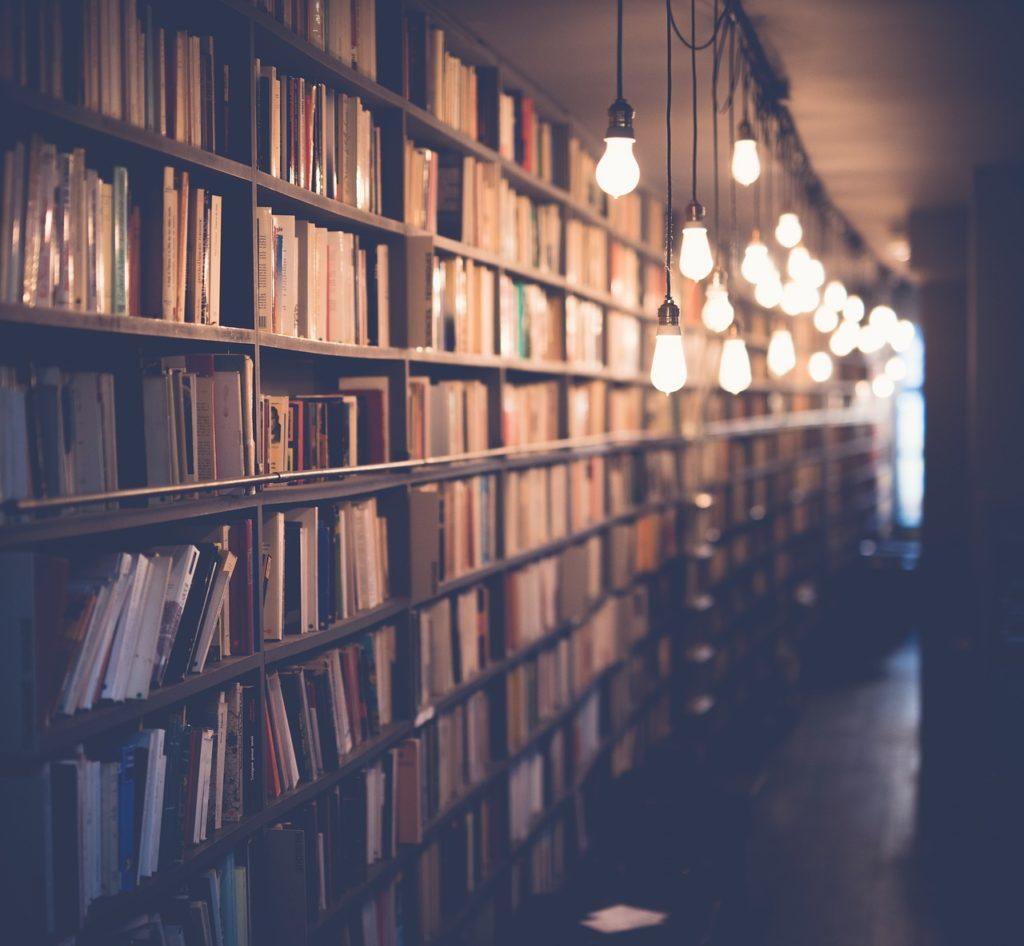 image of bookshelves and lights