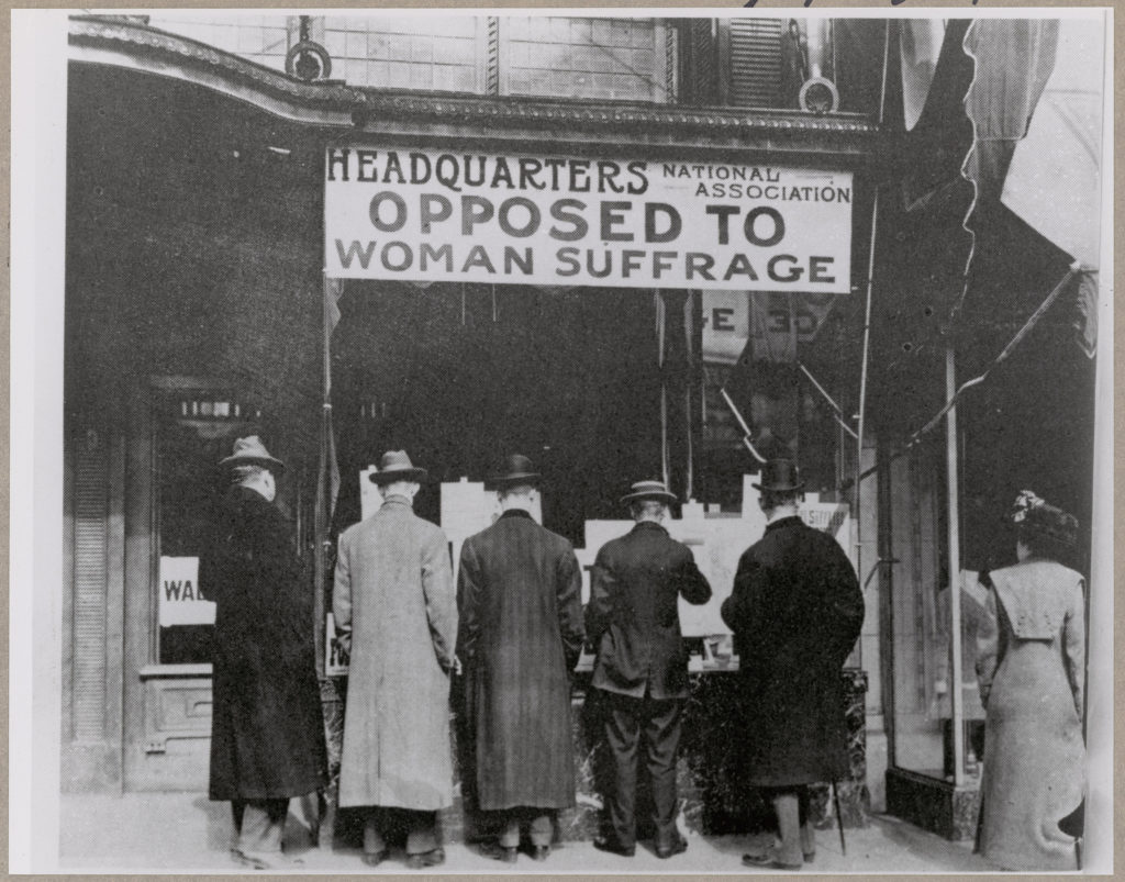 Passers-By Looking at Window Display at the Headquarters of National Association Opposed to Woman Suffrage - 1919