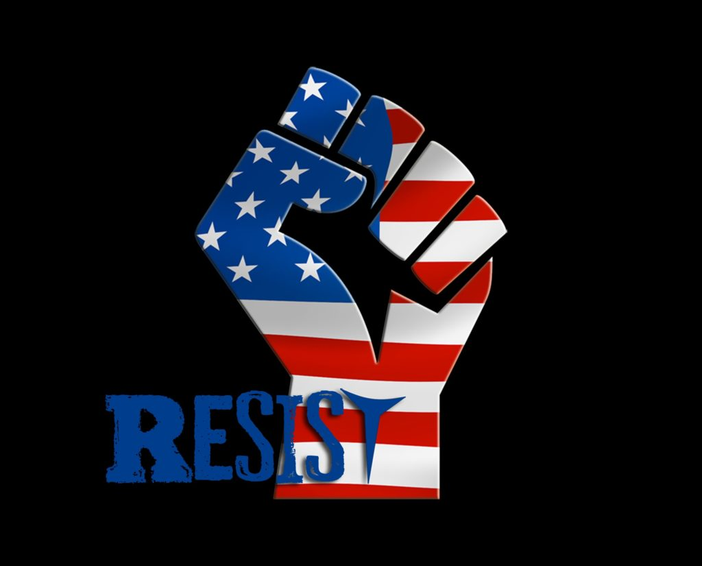 Image of fist in red, white, blue with word resist