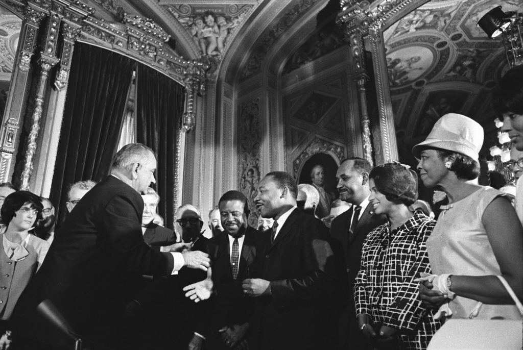 Image of Martin Luther King Jr with Lynden B Johnson