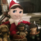 image of elf on shelf by nativity