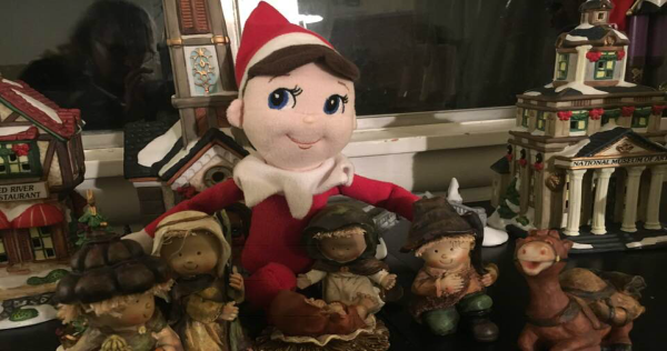 image of elf on a shelf by nativity