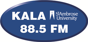 Blue and white Logo for KALA Radio 88.5 FM - St. Ambrose University, Iowa