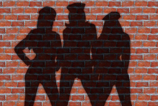 image of group of women - silhouette on brick
