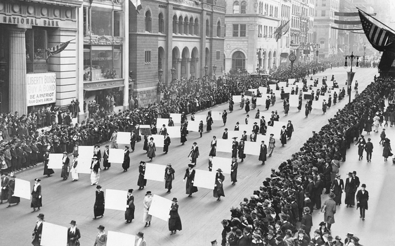 image of black and white picture of Suffragists parade down Fifth Avenue, 1917.
