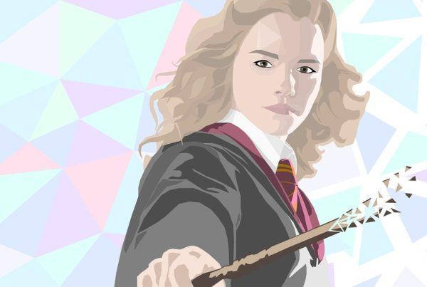 Artistic representation of Hermione Granger wielding a wand