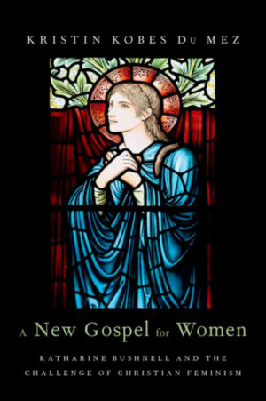 image of book cover a new gospel for women with black background and stained glass image