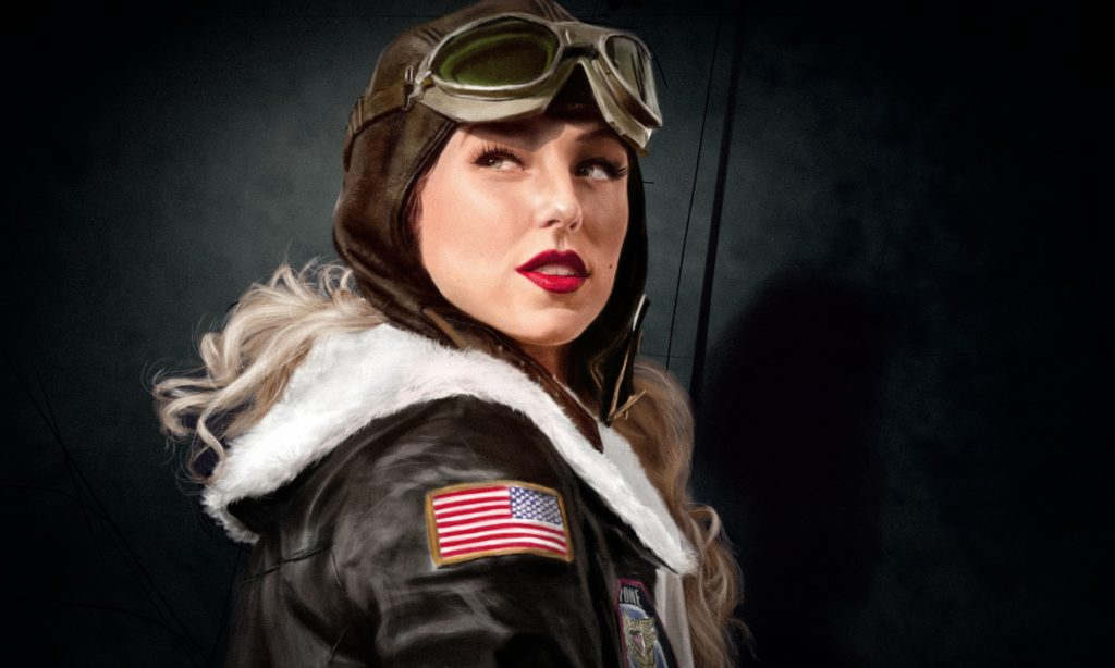 woman in bomber jacket with American flag on shoulder