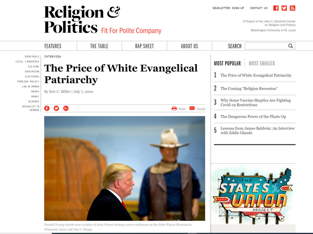 """screencapture from religion & politics showing headline for """"the price of whit evangelical patriarchy"""" with donald trump in front of a statue of john wayne"""