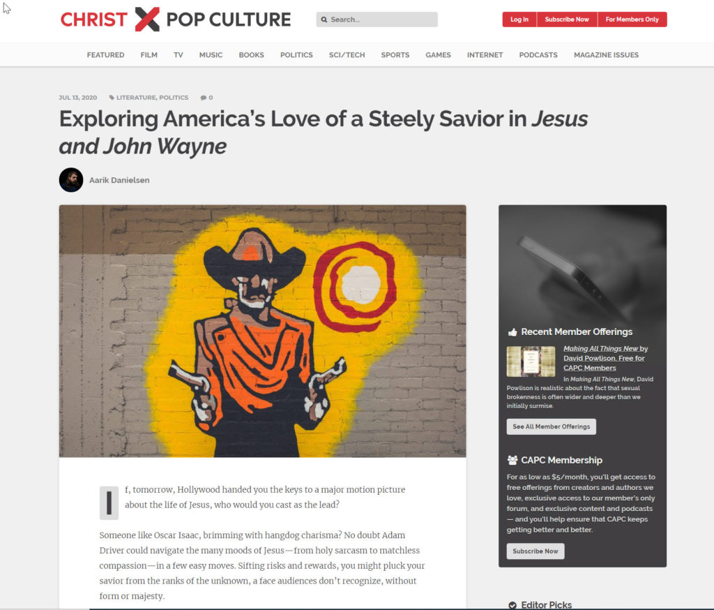image of screencapture from Christ and Pop Culture, July 13, 2020