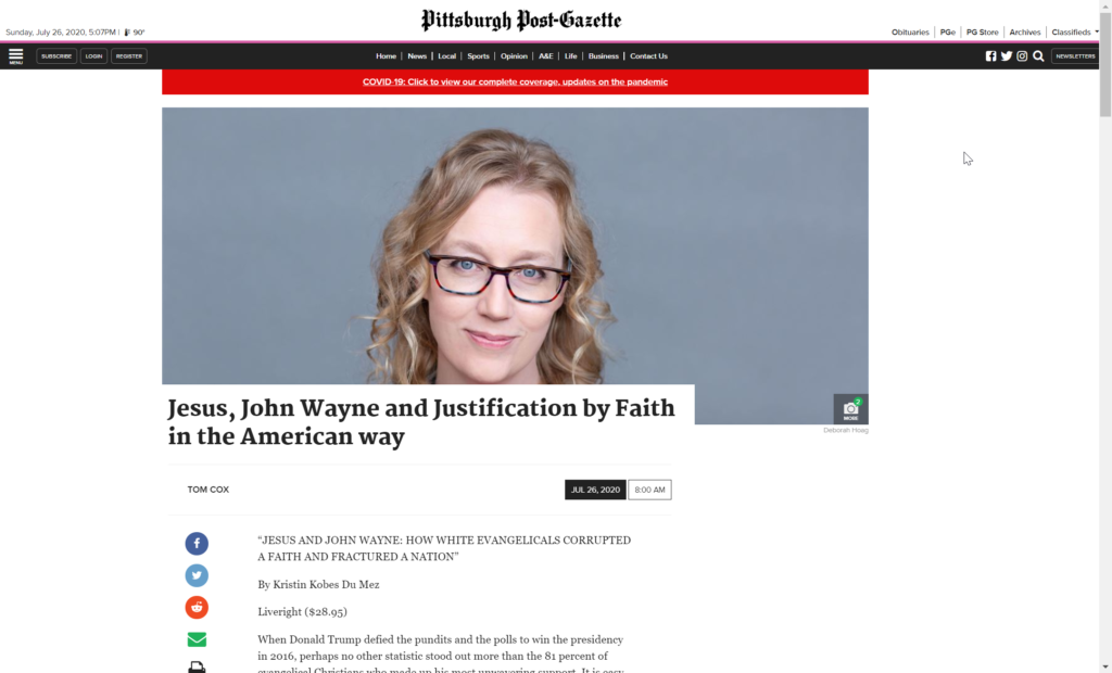 image of screenshot from the pittsburgh post-gazette article, jesus, john wayne and justification by faith in the american way