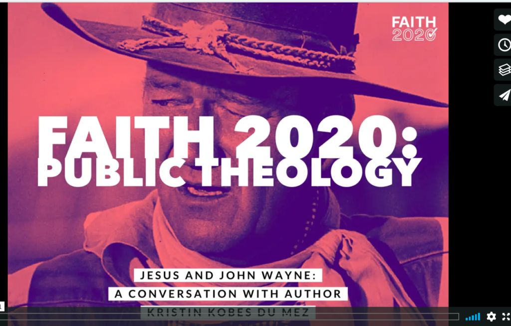 screencapture of Faith 2020 episode with john wayne in red tones