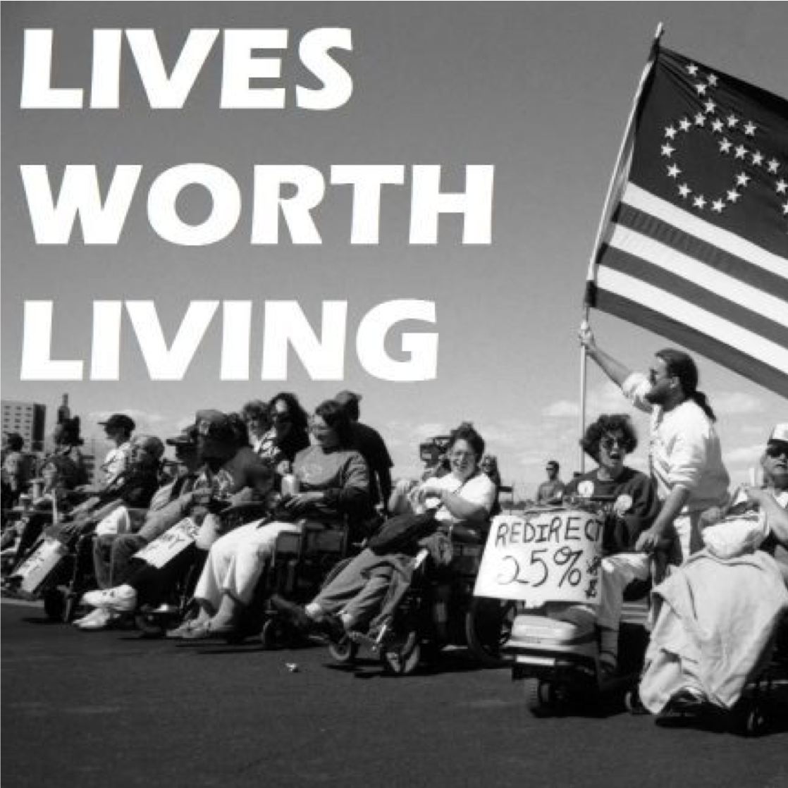 "black and white photo of ""Lives Worth Living"" documentary showing disability rights advocates in the 1970s"