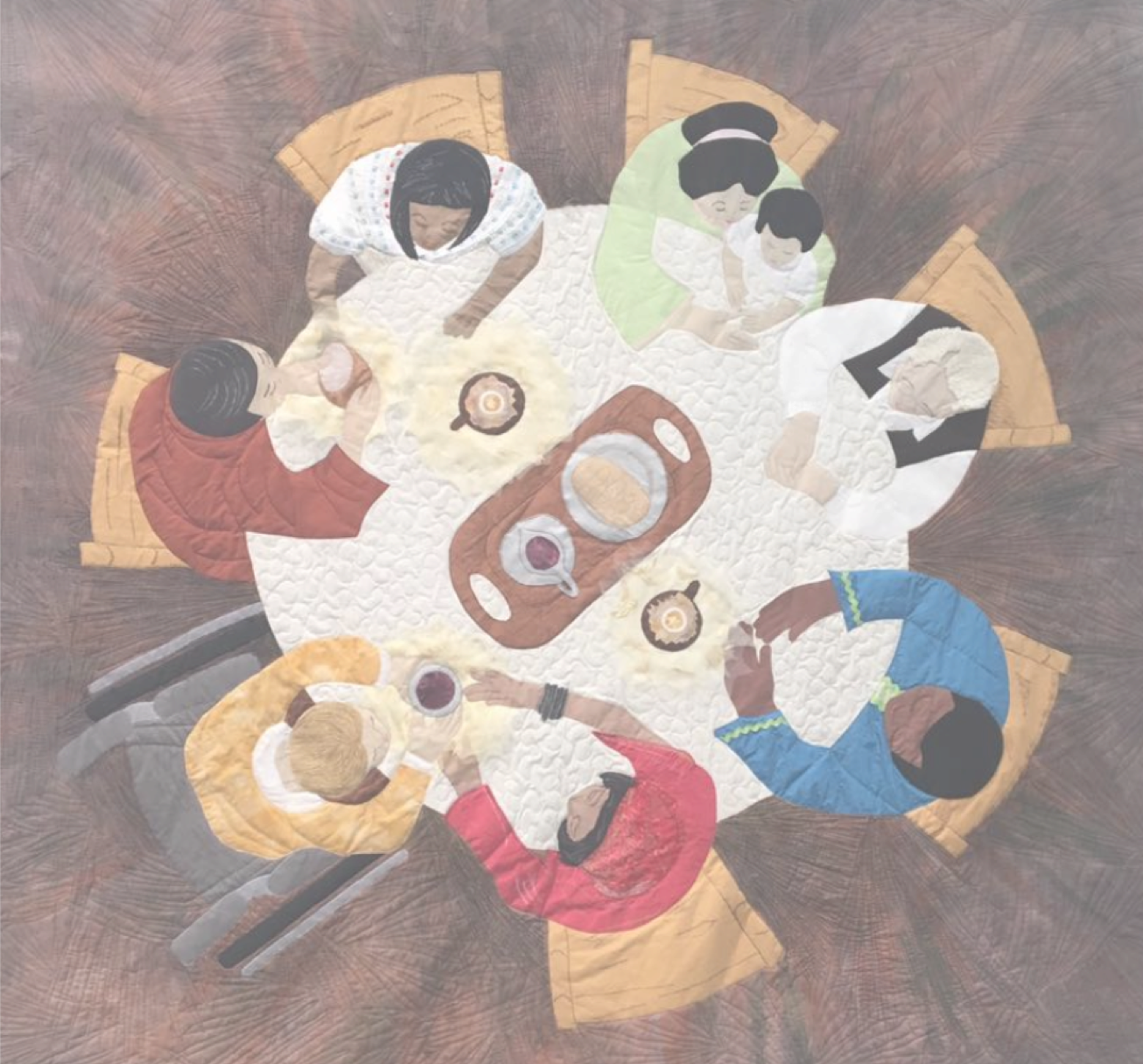 quilt looking down on 8 people, of various ages and races and disability status, sitting around a table sharing a common mean of bread and wine