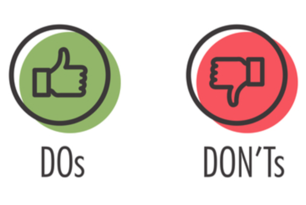 green thumbs up saying Do, red thumbs down saying don't