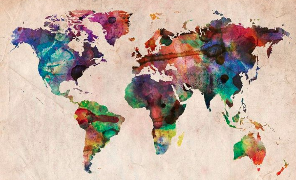 watercolor drawing of the world