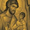 A grey-scale icon of Jesus, three children, a woman, and a man. The icon, by Tom Clark, is at the top of the cover of Kinard's book.