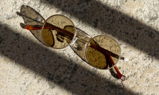 Hackett London Bespoke HSB891 Sunglasses In Gold Photographed Street Style