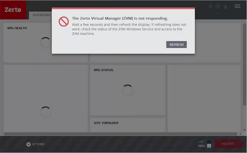 NSX switch ZVM dashboard not loading