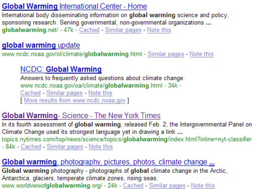 Google Global Warming