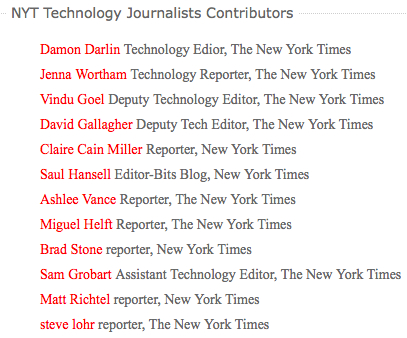 New York Times Technology Journalists