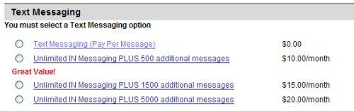 Verizon Text Messaging Packages