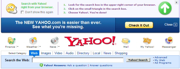 Yahoo Homepage Search