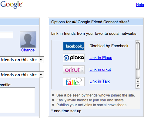 Google Friend Connect Diabled By Facebook