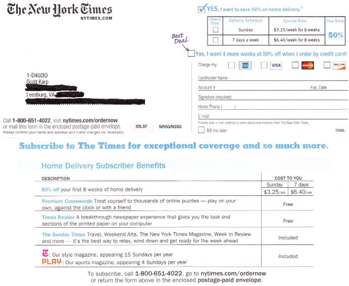 New York Times Circulation Marketing