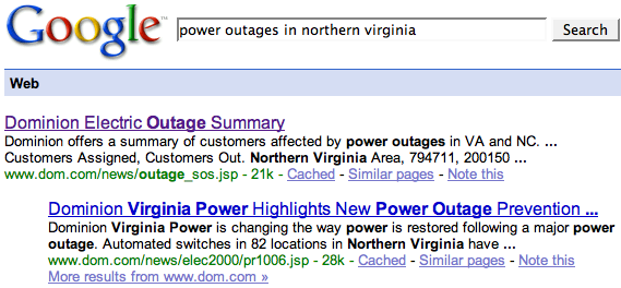 Power Outages Northern Virginia