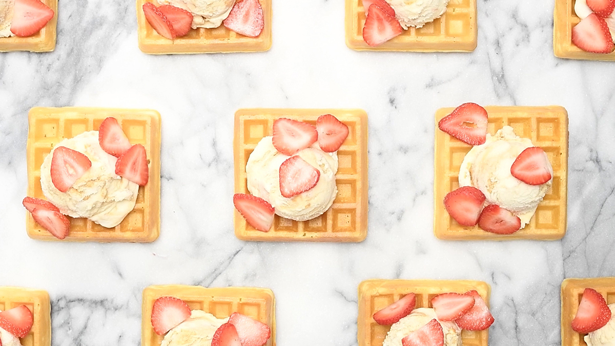waffles with ice cream and strawberries