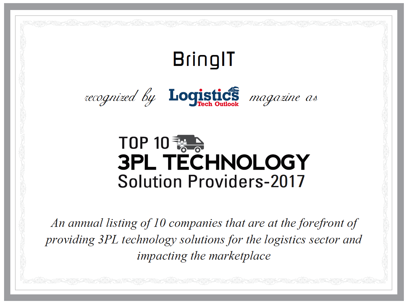 Bring IT Receives Logistics Technology Provider Recognition