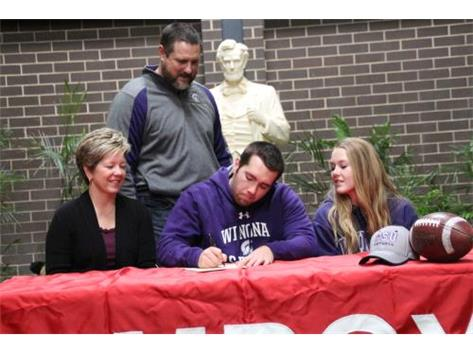 Cole Stewart Signing with Winona to play football.