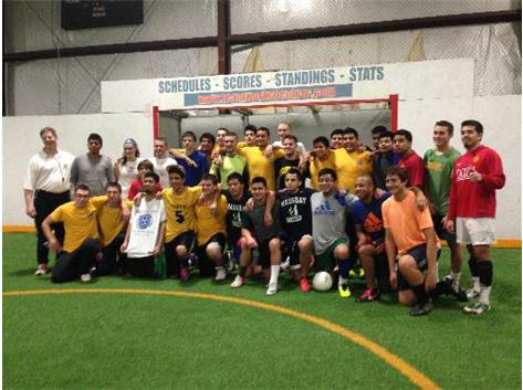 Soccer players gather together to play in Pablo's memory.