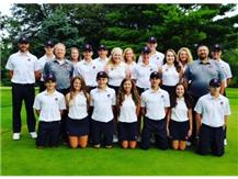 Both boys and girls golf teams along with their coaches.