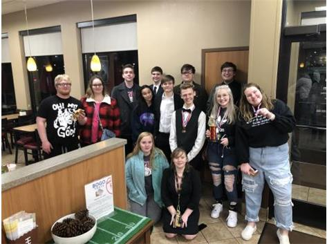 The BCHS Speech Team celebrates at Chick-fil-a after a 5th place overall finish at SISAL finals at Belleville West.