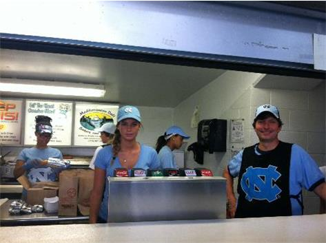 Working hard at UNC Concession to raise money.