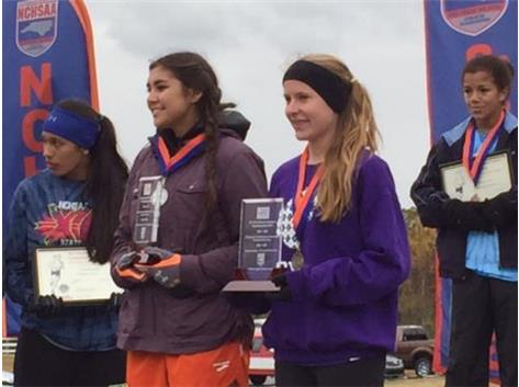 Natalie Richardson (right) selected as the NCHSAA 2A XC Sportsmanship Award Recipient For Carrboro
