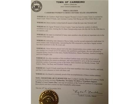 Proclamation Nov. 19, 2014 Carrboro Women's XC Day