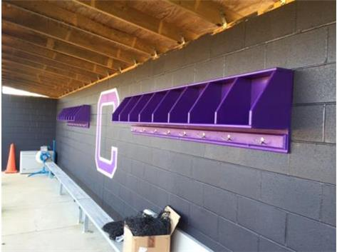 Coach Faircloth adding new touches to the Softball Dugout!