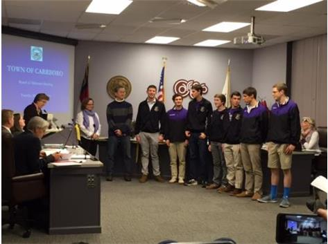 2015 Men's Swim Champions Recognized by the Town of Carrboro and Mayor Lavelle