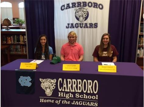Congrats to our Jaguars Moving on to the Next Level! Maysa Araba, UNC-CH XC & Track, Callum Cordell, Greensboro College Men's Lacrosse and Morgan CLawson, College of Charleston, WV Women's Lacrosse