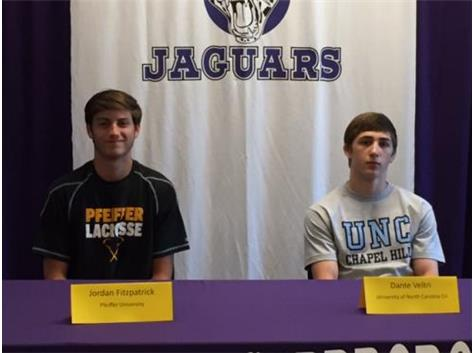 Congrats to Jordan Fitzpatrick, men's lacrosse, committed to Pfeiffer University and Dante Veltri, wrestling, committed to UNC-CH