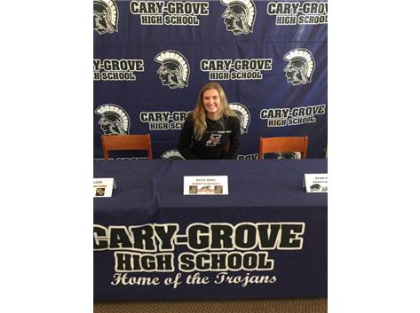 Katie Sowa getting ready to sign her letter of intent to play basketball for the University of Indianapolis Greyhounds.