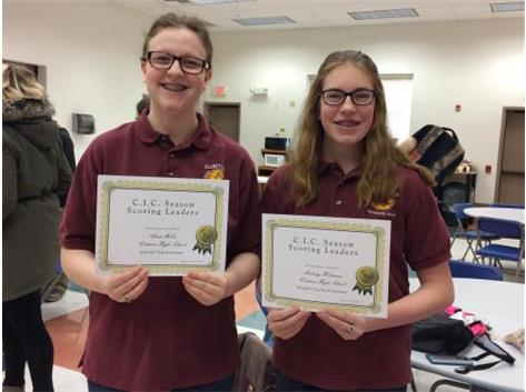 Anna Mills 1st Place, Lindsey Holtman 9th Place (JV Scholastic Bowl)