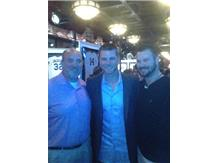 Coach Haas & Coach Wieda pose with Legendary Cubs Pitcher Kerry Wood