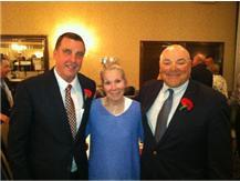 (left to right) Steve Dietz '75, Mrs. Pappas, wife of legendary coach Steve Pappas and Frank Santana '72